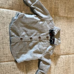 Baby Boy Old Navy Gray Dress shirt with bow tie